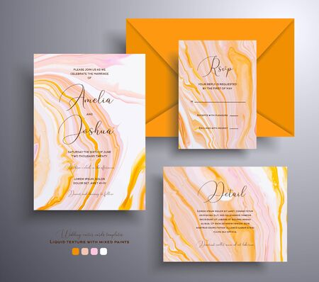 Set of acrylic wedding invitations with stone texture. Agate vector cards with marble effect and swirling paints, orange, yellow and coral colors. Designed for posters, brochures and etc