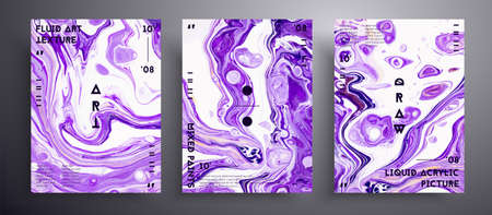 Abstract liquid banner, fluid art vector texture collection. Beautiful background that applicable for design cover, poster, brochure and etc. Lavender and white universal trendy painting backdrop