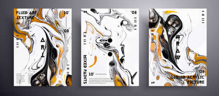 Abstract acrylic banner, fluid art vector texture set. Trendy background that applicable for design cover, poster, brochure and etc. Golden, black and white unusual creative surface template
