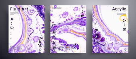Abstract liquid placard, fluid art vector texture pack. Beautiful background that applicable for design cover, poster, brochure and etc. Purple, white and orange unusual creative surface template