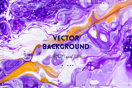 Fluid art texture. Background with abstract mixing paint effect. Liquid acrylic picture that flows and splashes. Mixed paints for interior poster. Purple, golden and white overflowing colors Ilustracja