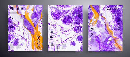 Abstract acrylic poster, fluid art vector texture set. Trendy background that can be used for design cover, poster, brochure and etc. Purple, orange and white universal trendy painting backdrop
