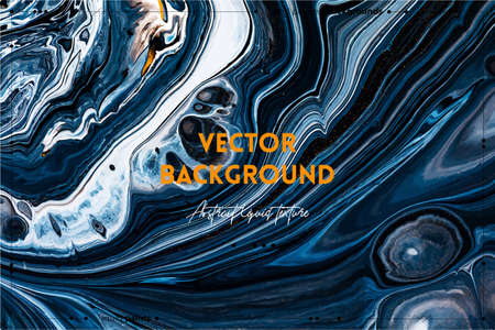 Fluid art texture. Background with abstract swirling paint effect. Liquid acrylic artwork with beautiful mixed paints. Can be used for interior poster. Black, navy blue and golden overflowing colors