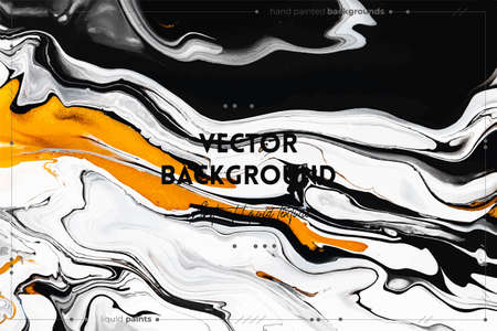 Fluid art texture. Abstract backdrop with mixing paint effect. Liquid acrylic artwork that flows and splashes. Mixed paints for website background. Golden, black and white overflowing colors