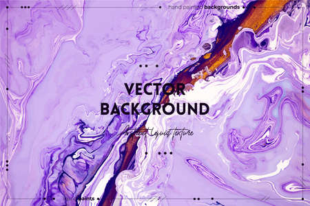 Fluid art texture. Abstract background with mixing paint effect. Liquid acrylic picture with flows and splashes. Mixed paints for website background. Purple, lavender and golden overflowing colors Ilustracja