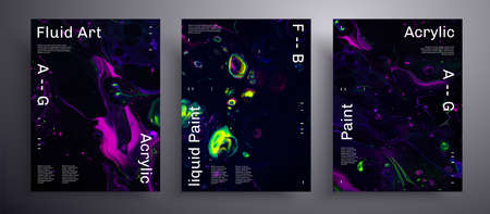 Abstract vector placard, texture pack of fluid art covers. Beautiful background that applicable for design cover, poster, brochure and etc. Purple, green, yellow and black creative iridescent artwork