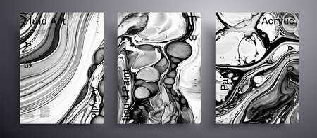 Abstract acrylic banner, fluid art vector texture set. Trendy background that applicable for design cover, invitation, flyer and etc. Black and white creative iridescent artwork 矢量图像