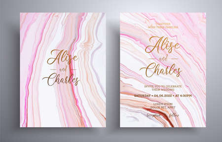 Modern set of wedding invitations with stone pattern. Agate vector covers with marble effect and place for text, beige, brown and white colors. Designed for greeting cards, packaging and etc 向量圖像