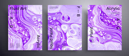 Abstract vector banner, texture pack of fluid art covers. Beautiful background that can be used for design cover, invitation, presentation and etc. Purple and white unusual creative surface template