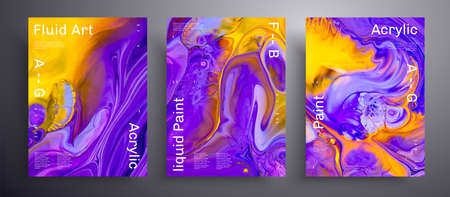 Abstract acrylic banner, fluid art vector texture pack. Beautiful background that applicable for design cover, poster, brochure and etc. Blue, yellow and purple unusual creative surface template