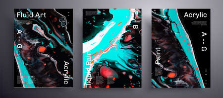 Abstract liquid placard, fluid art vector texture set. Artistic background that can be used for design cover, poster, brochure and etc. Black, blue and orange creative iridescent artwork