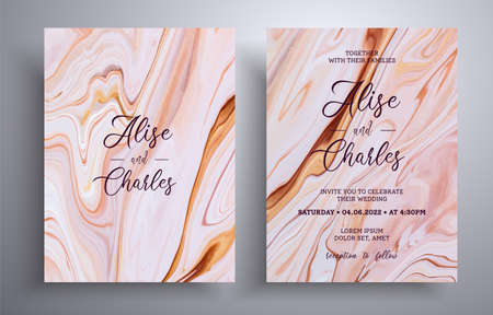 Modern collection of wedding invitations with stone pattern. Agate vector covers with marble effect and place for text, brown, yellow and white colors. Designed for greeting cards, brochures and etc