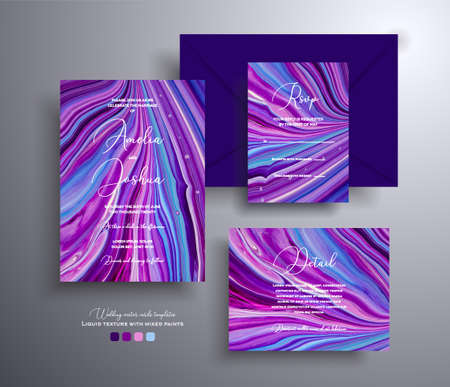 Set of acrylic wedding invitations with stone texture. Agate vector cards with marble effect and swirling paints, purple, blue and navy blue colors. Designed for greeting cards, packaging and etc