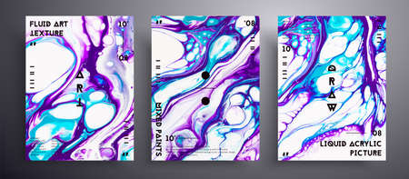 Abstract liquid poster, fluid art vector texture collection. Beautiful background that can be used for design cover, poster, brochure and etc. Purple, navy blue and white creative iridescent artwork 矢量图像