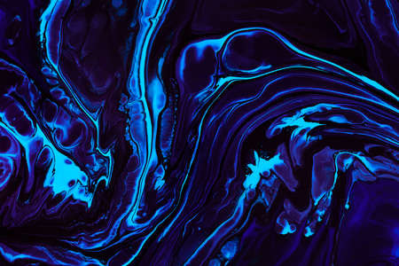 Fluid art texture. Abstract background with mixing paint effect. Liquid acrylic picture with trendy mixed paints. Can be used for website background. Blue, purple and aquamarine overflowing colors