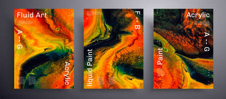 Abstract acrylic placard, fluid art vector texture set. Artistic background that can be used for design cover, poster, brochure and etc. Orange, green and black unusual creative surface template