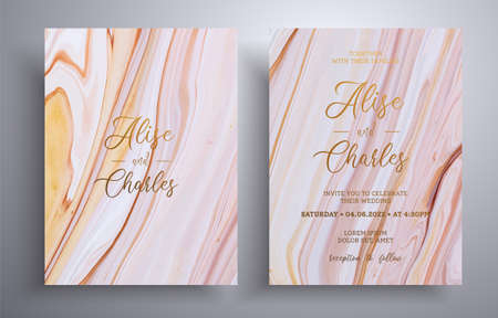 Beautiful set of wedding invitations with stone texture. Mineral vector covers with marble effect and place for text, brown, biege and white colors. Designed for greeting cards, brochures and etc
