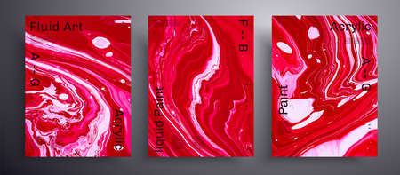 Abstract vector poster, collection of modern fluid art covers. Artistic background that applicable for design cover, invitation, flyer and etc. Pink, red and white unusual creative surface template