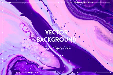 Fluid art texture. Abstract background with swirling paint effect. Liquid acrylic artwork with colorful mixed paints. Can be used for background or poster. Blue, pink and purple overflowing colors