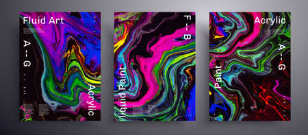 Abstract liquid banner, fluid art vector texture pack.Beautiful background that applicable for design cover, poster, brochure and etc. Pink, blue, green and black unusual creative surface template 矢量图像