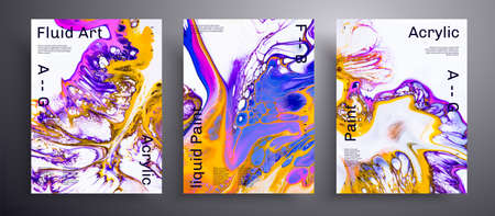 Abstract acrylic poster, fluid art vector texture set. Trendy background that applicable for design cover, invitation, presentation and etc. Blue, pink, yellow and white creative iridescent artwork