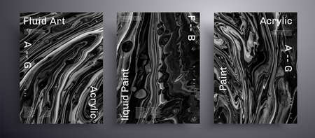 Abstract vector poster, texture collection of fluid art covers. Artistic background that can be used for design cover, invitation, flyer and etc. Black and white universal trendy painting backdrop 矢量图像