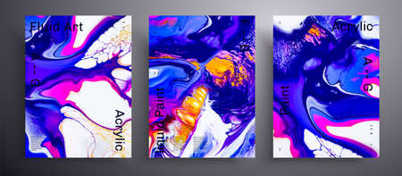 Abstract liquid poster, fluid art vector texture set. Trendy background that applicable for design cover, invitation, flyer and etc. Navy blue, yellow, pink and white creative iridescent artwork