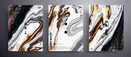 Abstract vector poster, texture set of fluid art covers. Brown, black and white universal trendy painting backdrop