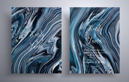 Set of acrylic wedding invitations with stone texture. Agate vector covers with marble effect and place for text, black, navy blue and white colors. Designed for posters, brochures and etc