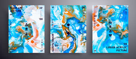 Abstract vector banner, texture set of fluid art covers.  Blue, white and orange unusual creative surface template 矢量图像