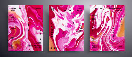 Abstract vector poster, pack of modern design fluid art covers. Trendy background that applicable for design cover, invitation, presentation and etc. Red, golden and white creative iridescent artwork 矢量图像