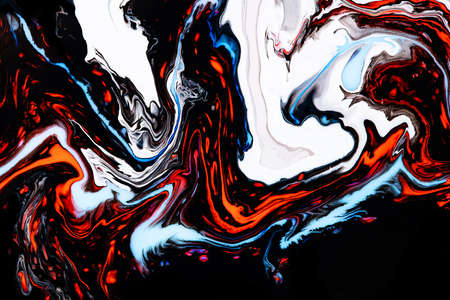 Fluid art texture. Backdrop with abstract mixing paint effect. Liquid acrylic artwork with beautiful mixed paints. Can be used for interior poster. Orange, black and blue overflowing colors