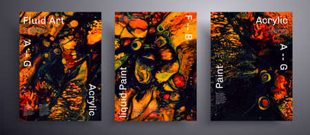 Abstract liquid banner, fluid art vector texture pack. Orange, green and black creative iridescent artwork