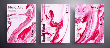 Abstract vector poster, texture collection of fluid art covers.  Pink and white unusual creative surface template