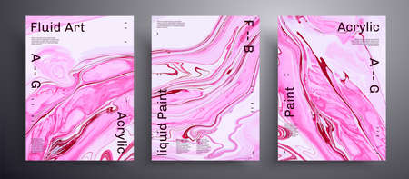 Abstract vector banner, set of modern design fluid art covers. Trendy background that can be used for design cover, invitation, presentation and etc. Pink and white unusual creative surface template