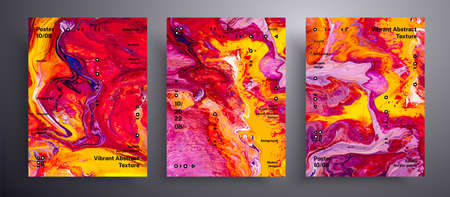 Abstract liquid banner, fluid art vector texture set. Artistic background that applicable for design cover, invitation, presentation and etc. Pink, yellow and red unusual creative surface template 免版税图像