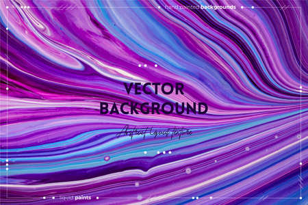 Fluid art texture. Abstract backdrop with swirling paint effect. Liquid acrylic picture with flows and splashes. Mixed paints for website background. Purple, blue and white overflowing colors
