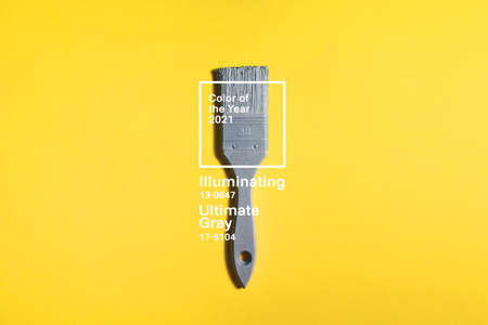 Gray brush on yellow background, trend and mod colors of 2021 year. Minimalistic vibrant picture for article, banner or poster