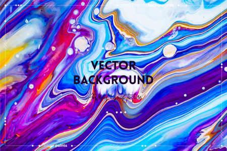 Fluid art texture. Abstract background with iridescent paint effect. Liquid acrylic artwork with beautiful mixed paints. Can be used for interior poster. Blue, pink and orange overflowing colors Illustration