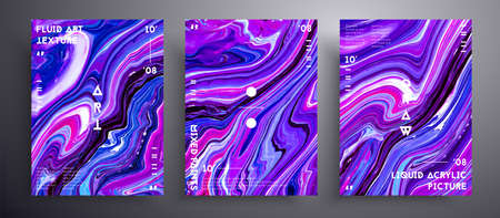 Abstract acrylic placard, fluid art vector texture set. Beautiful background that applicable for design cover, invitation, presentation and etc. Purple, blue and white creative iridescent artwork