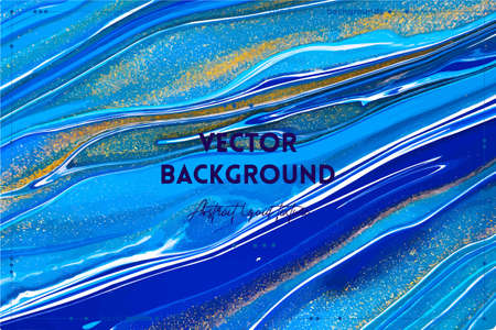 Fluid art texture. Backdrop with abstract swirling paint effect. Liquid acrylic artwork that flows and splashes. Mixed paints for interior poster. Navy blue, golden and azure overflowing colors
