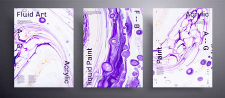 Abstract vector banner, collection of modern fluid art covers. Trendy background that applicable for design cover, poster, brochure and etc. Purple and white universal trendy painting backdrop