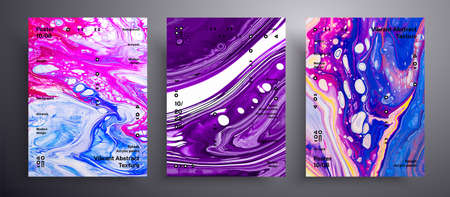 Abstract vector placard, texture pack of fluid art covers. Artistic background that applicable for design cover, poster, brochure and etc. Pink, blue and purple unusual creative surface template