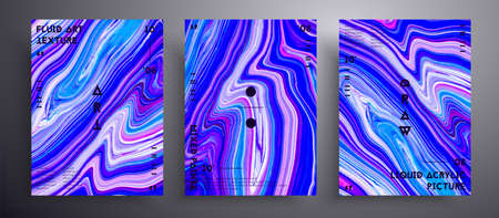 Abstract vector poster, texture pack of fluid art covers. Beautiful background that applicable for design cover, poster, brochure and etc. Blue, lilac and white unusual creative surface template