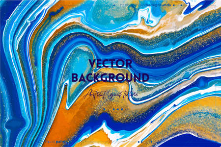 Fluid art texture. Backdrop with abstract mixing paint effect. Liquid acrylic picture that flows and splashes. Mixed paints for baner or wallpaper. Turquoise, white and golden overflowing colors