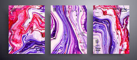 Abstract vector banner, texture collection of fluid art covers. Trendy background that can be used for design cover, invitation, flyer and etc. Pink, purple and red creative iridescent artwork