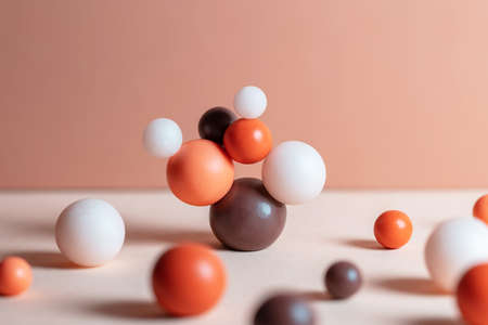 Modern composition with pastel round objects. Minimalistic geometric balls on white and beige background. Still life with harmony and balance concept