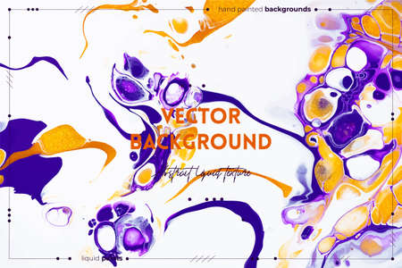 Fluid art texture. Backdrop with abstract swirling paint effect. Liquid acrylic picture that flows and splashes. Mixed paints for background or poster. Purple, white and golden overflowing colors Illusztráció