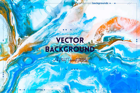 Fluid art texture. Backdrop with abstract iridescent paint effect. Liquid acrylic picture with beautiful mixed paints. Can be used for interior poster. Blue, golden and white overflowing colors Illusztráció