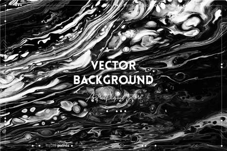 Fluid art texture. Abstract background with swirling paint effect. Liquid acrylic picture with flows and splashes. Mixed paints for interior poster. Black and white overflowing colors